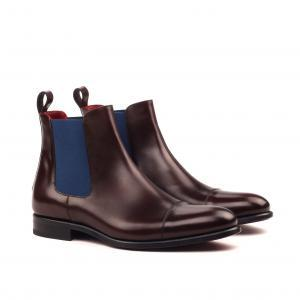 husky and smith Chelsea Boot Classic - Polished Calf english Med Brown-Navy Elastic