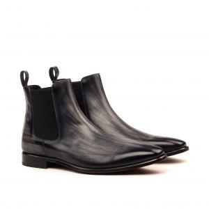 huskyandsmith husky smith Chelsea Boot Classic - Heavy Patina Grey-Dress Black Welt-Ang5