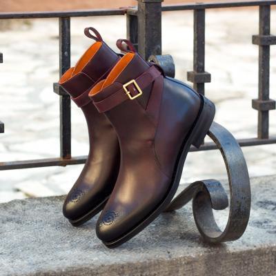Jodhpur Goodyear Welted - Dark Burnishing - Painted Calf Burgundy men fashion footwear outdoor horse polo equestrian london husky & smith