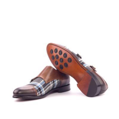 Cheviot Hills Grey Blue Tartan & Brown london men footwear goodyear welt
