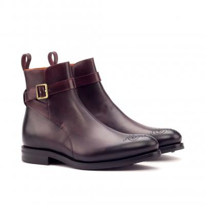 equestrian Jodhpur Goodyear Welted - Dark Burnishing - Painted Calf Burgundy-Ang5
