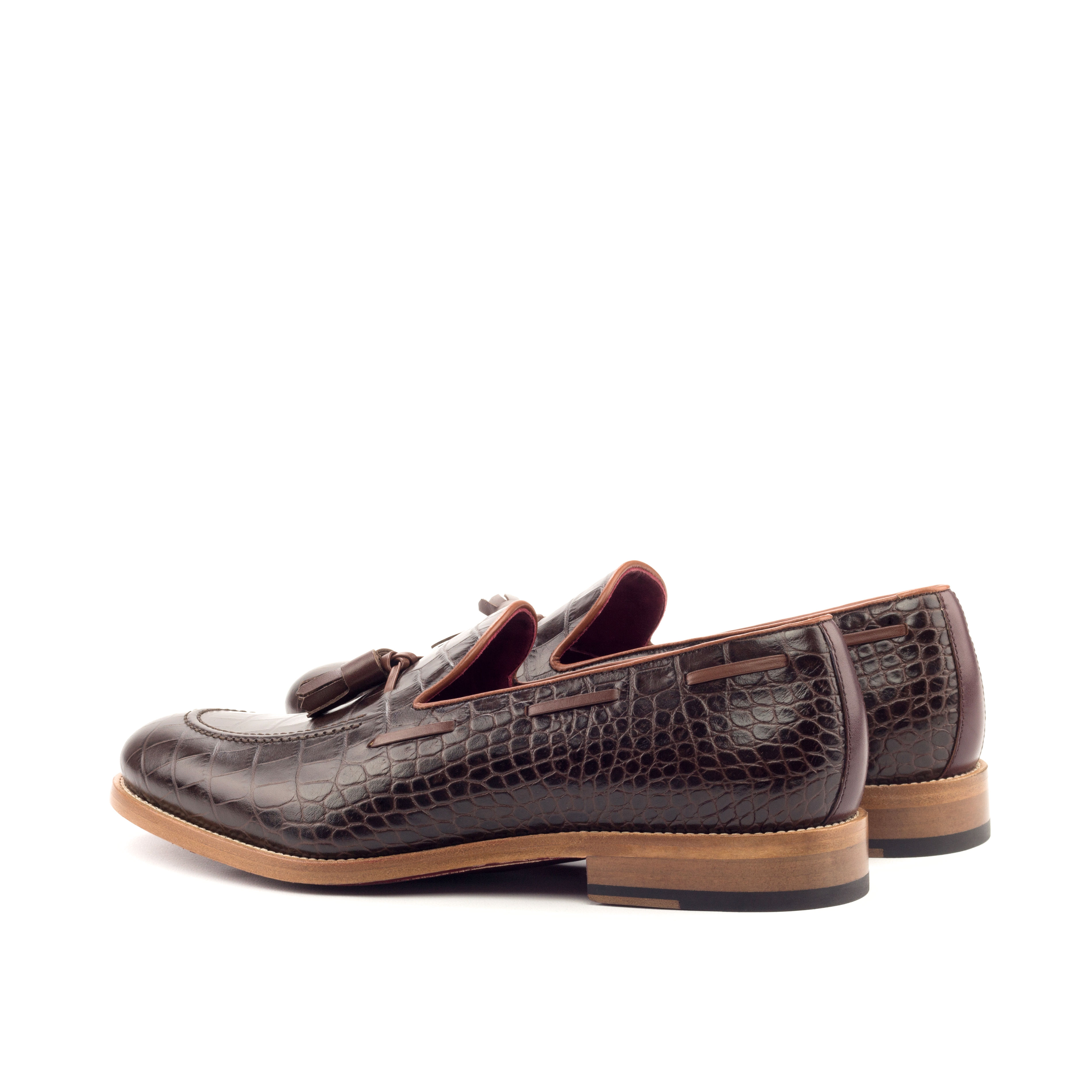 husky smith huskandsmith wedding man girl Loafer Tassels - Faux Croco Brown-Box Calf Burgundy And Cognac twitter instagram for sale sell