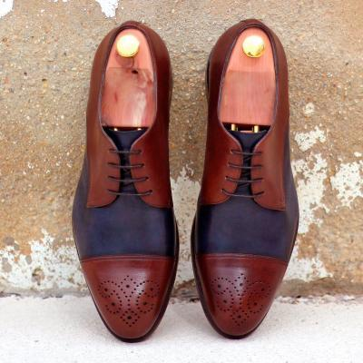 husky and smith huskysmith derby Full Brogue - Light Burnishing-Painted Calf Grey-Ang5